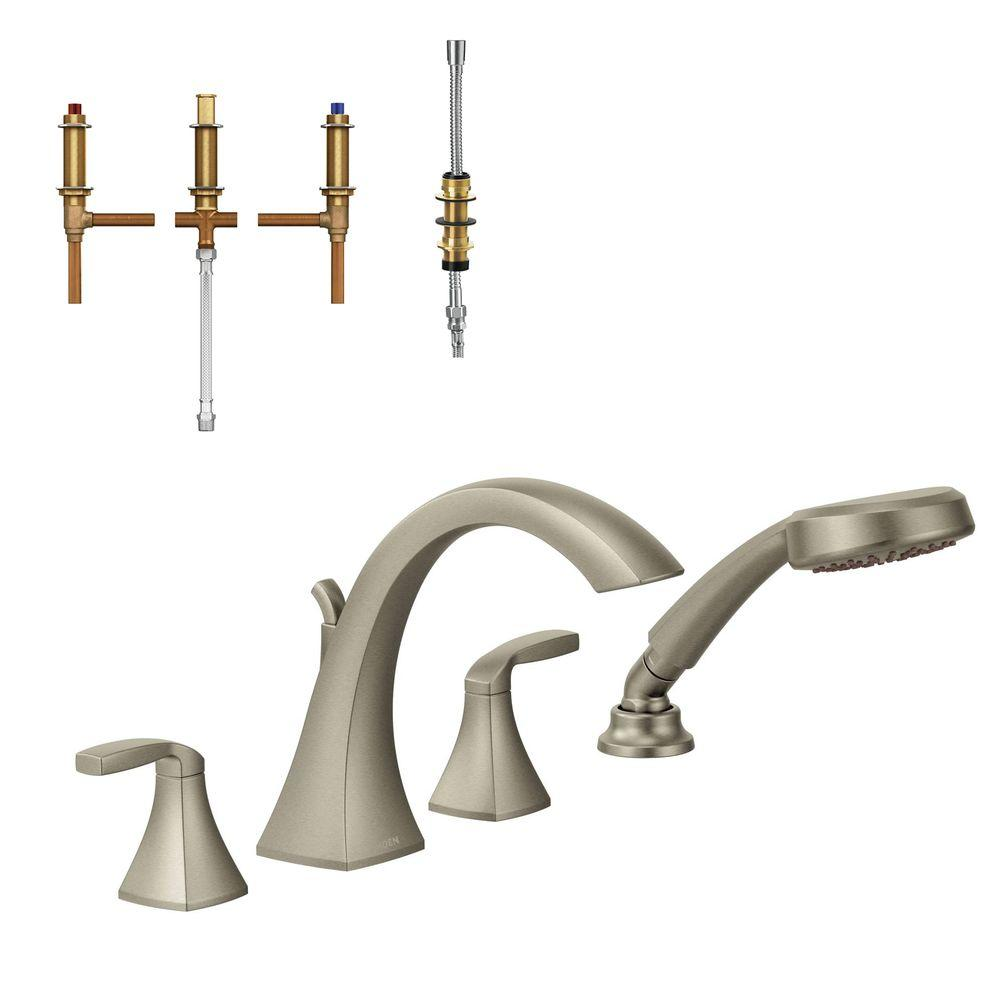 Moen Voss 2 Handle High Arc Roman Tub Faucet Trim Kit With Handshower And