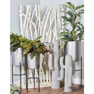 Brown and Silver Iron Drum Planters with Stands (Set of 3)