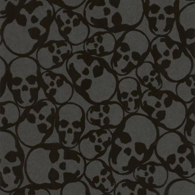Skulls Black Black Paper Strippable Roll (Covers 56 sq. ft.)