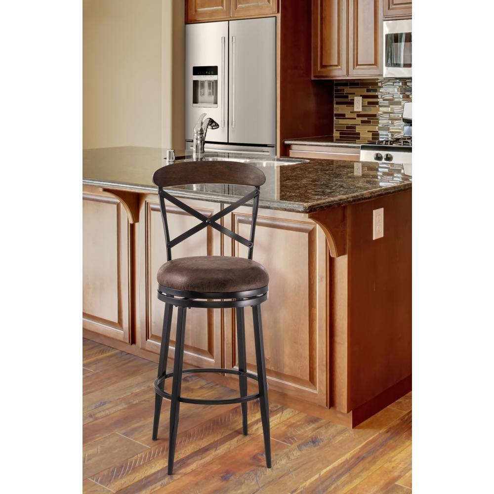 Henderson 26 in. Swivel Cushioned Counter Stool in Black and Brown