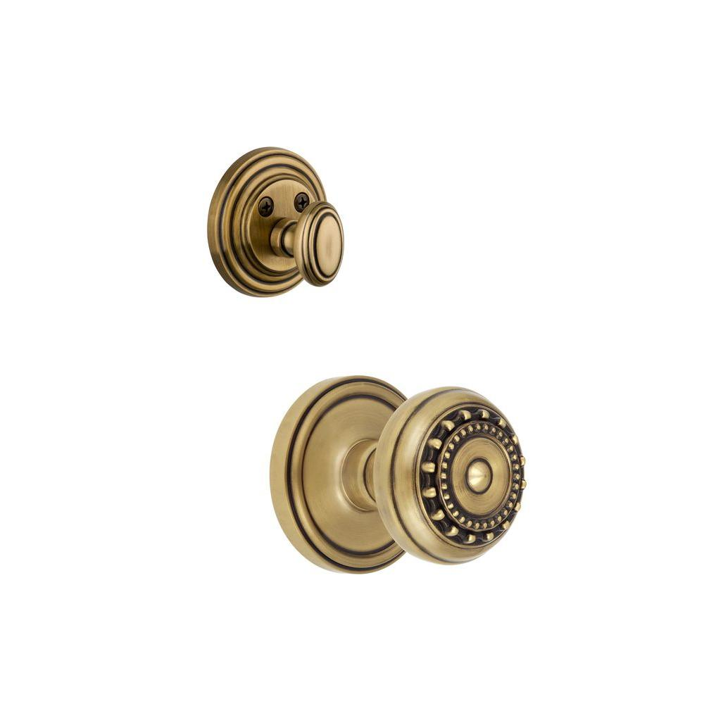 Grandeur Georgetown Single Cylinder Vintage Brass Combo Pack Keyed Alike with Parthenon Knob and Matching Deadbolt