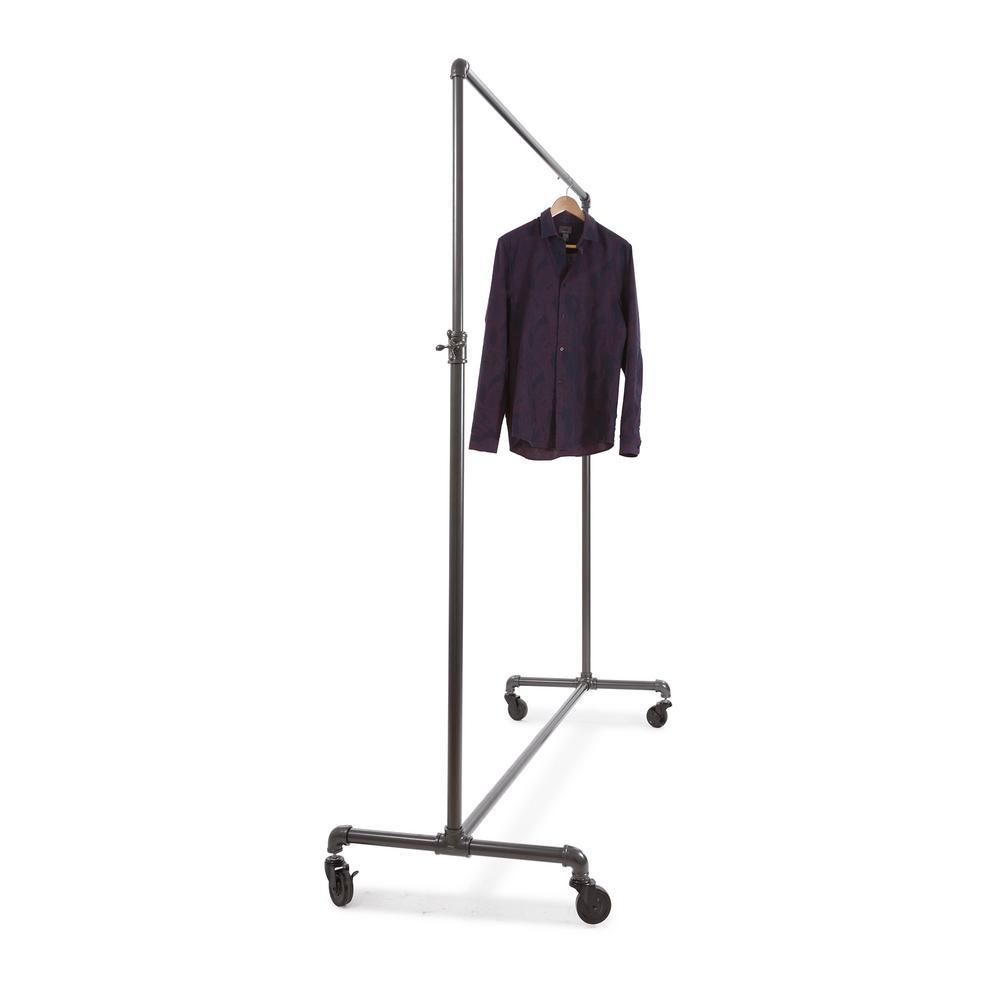 "2-Way Clothing Rack Pipeline Pipe Line Style Dark Gray Retail Garment 48/"" to 72/"""