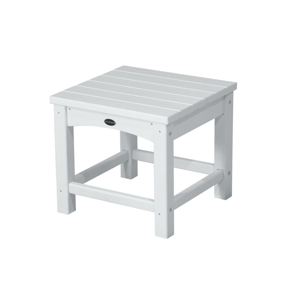 POLYWOOD Club 18 in. White Patio Side Table