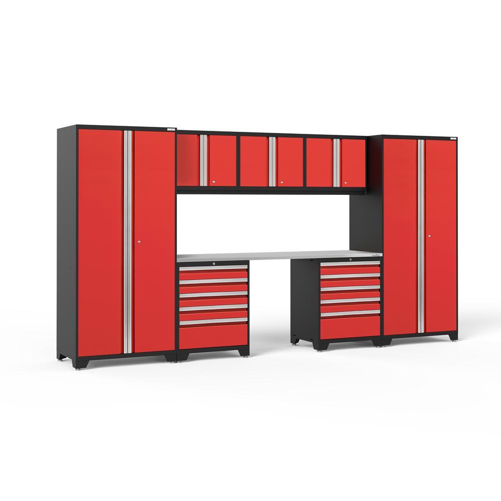 NewAge Products Pro Series 156 in. W x 85.25 in. H x 24 in. D 18-Gauge Welded Steel Garage Cabinet Set in Red (8-Piece)
