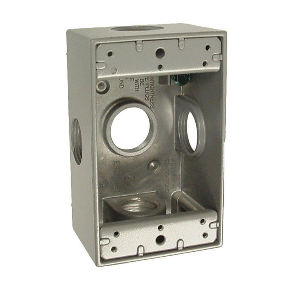 Carlon 6 In X 4 Gray Pvc Junction Box E987rr The Home House Wiring 1 Gang Weatherproof With Five 3 Outlets
