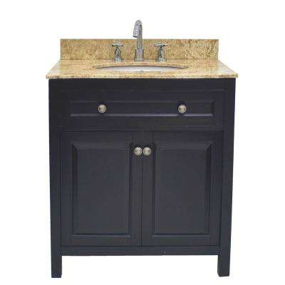 Wadsworth 30 in. W Bathroom Vanity in Black with Marble Vanity Top in Cream with White Basin
