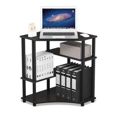 Turn-N-Tube Espresso/Black Space Saving Corner Desk with Shelves