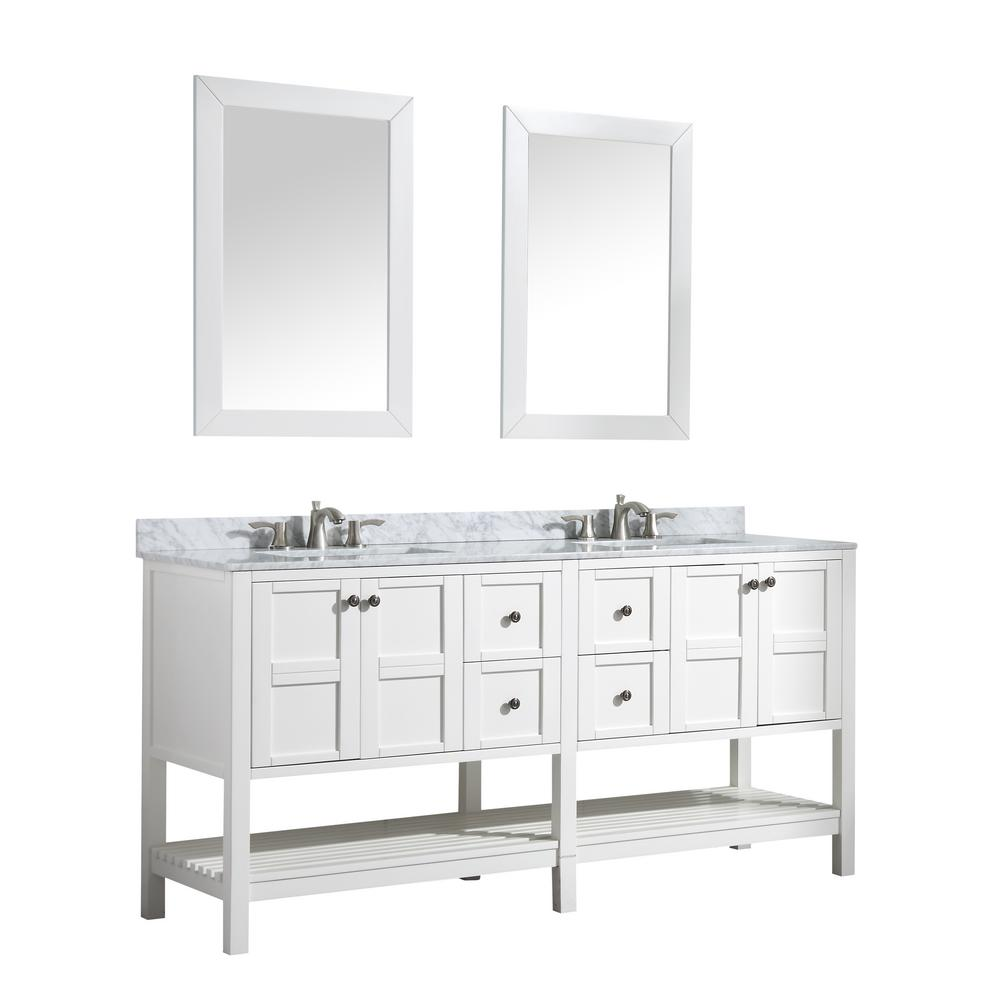 ANZZI Montaigne 72 in. W x 35.75 in. H Bath Vanity in White with Marble Vanity Top in Carrara White w/ White Basin and Mirror