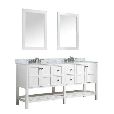 Montaigne 72 in. W x 35 in. H Bath Vanity in White with Marble Vanity Top in Carrara White with White Basin and Mirror