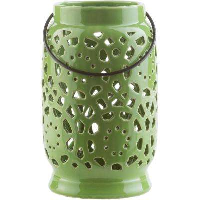 Kimba 9.4 in. Grass Green Ceramic Lantern