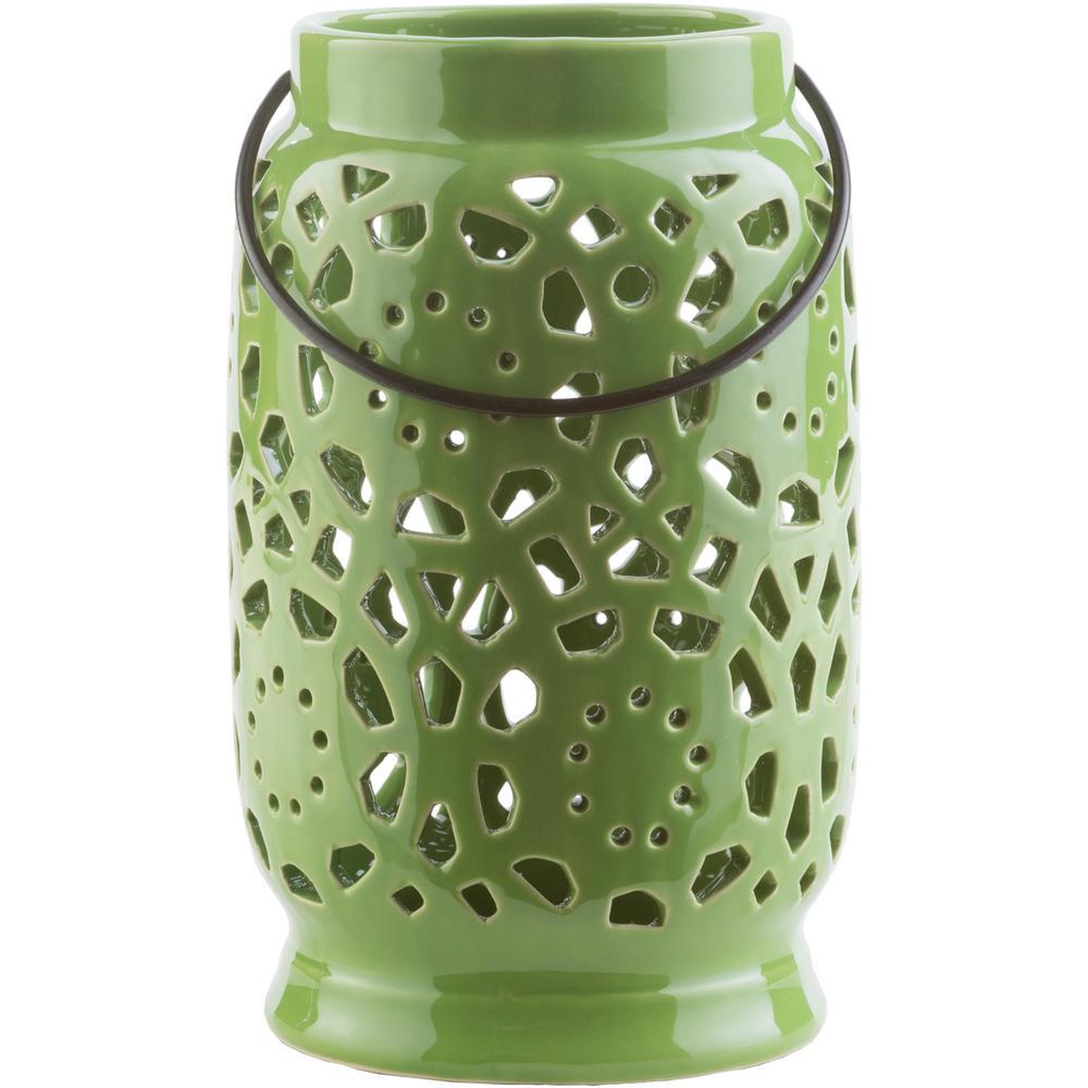 Kimba 9.4 in. Grass Green Ceramic Lantern