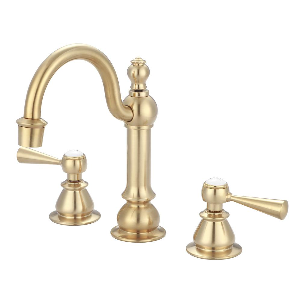 Water Creation 8 In Adjustable Widespread 2 Handle High Arc Lavatory Faucet In Satin Brass F2 0012 06 Tl The Home Depot
