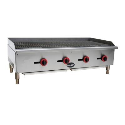 48 in. Gas Cooktop Charbroiler in Stainless Steel with 4 Burners
