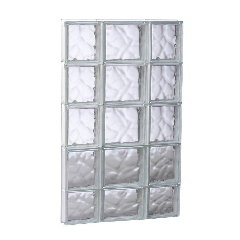 Clearly Secure 19.25 in. x 36.75 in. x 3.125 in. Frameless Wave Pattern Non-Vented Glass Block Window