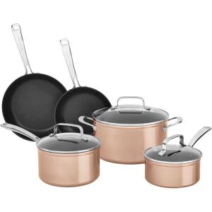 Click here to buy KitchenAid 8-Piece Hard Anodized Nonstick Toffee Delight Cookware Set by KitchenAid.