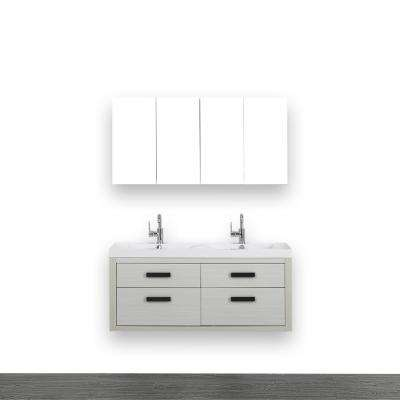 47.2 in. W x 19.4 in. H Bath Vanity in Gray with Resin Vanity Top in White with White Basin and Mirror