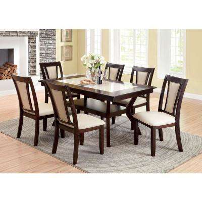 Brent Dark Cherry and Ivory Transitional Style Dining Table