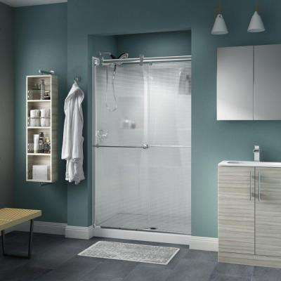 Lyndall 48 in. x 71 in. Semi-Frameless Contemporary Sliding Shower Door in Chrome with Droplet Glass