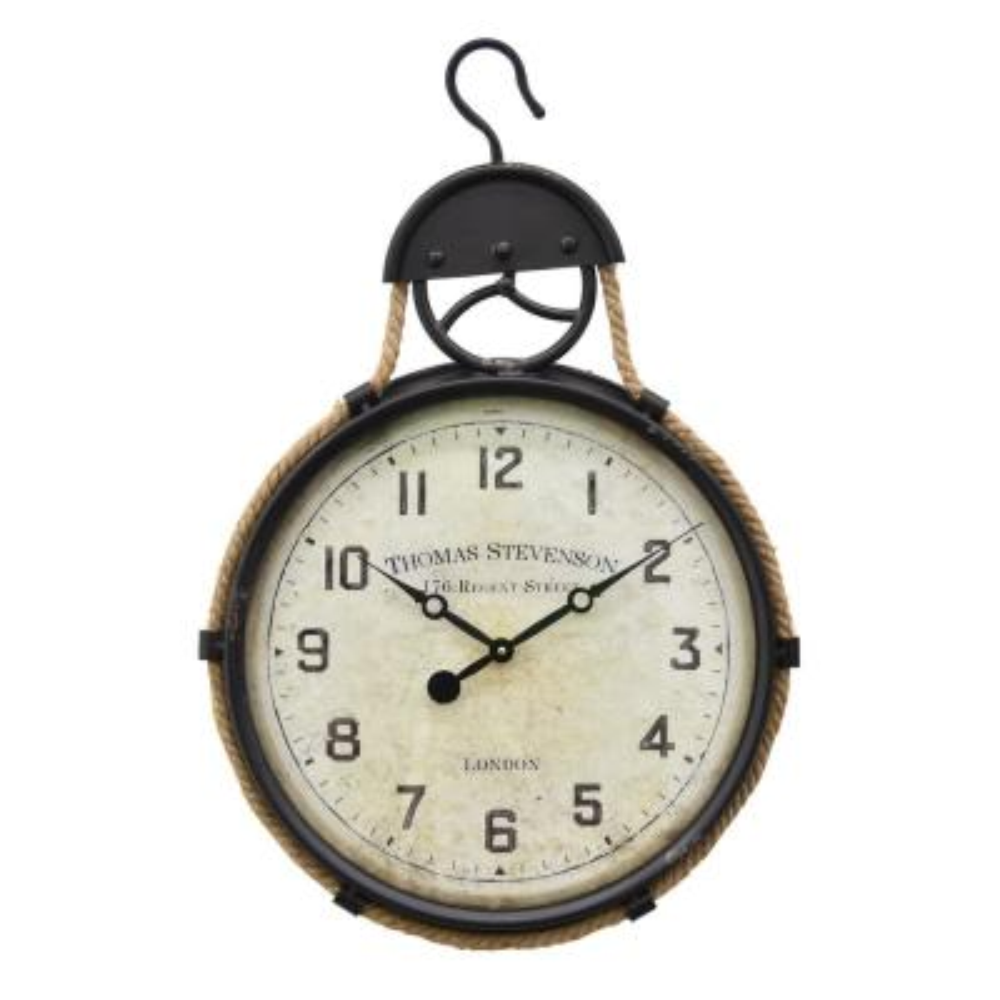 27 in. Black Metal Wall Clock