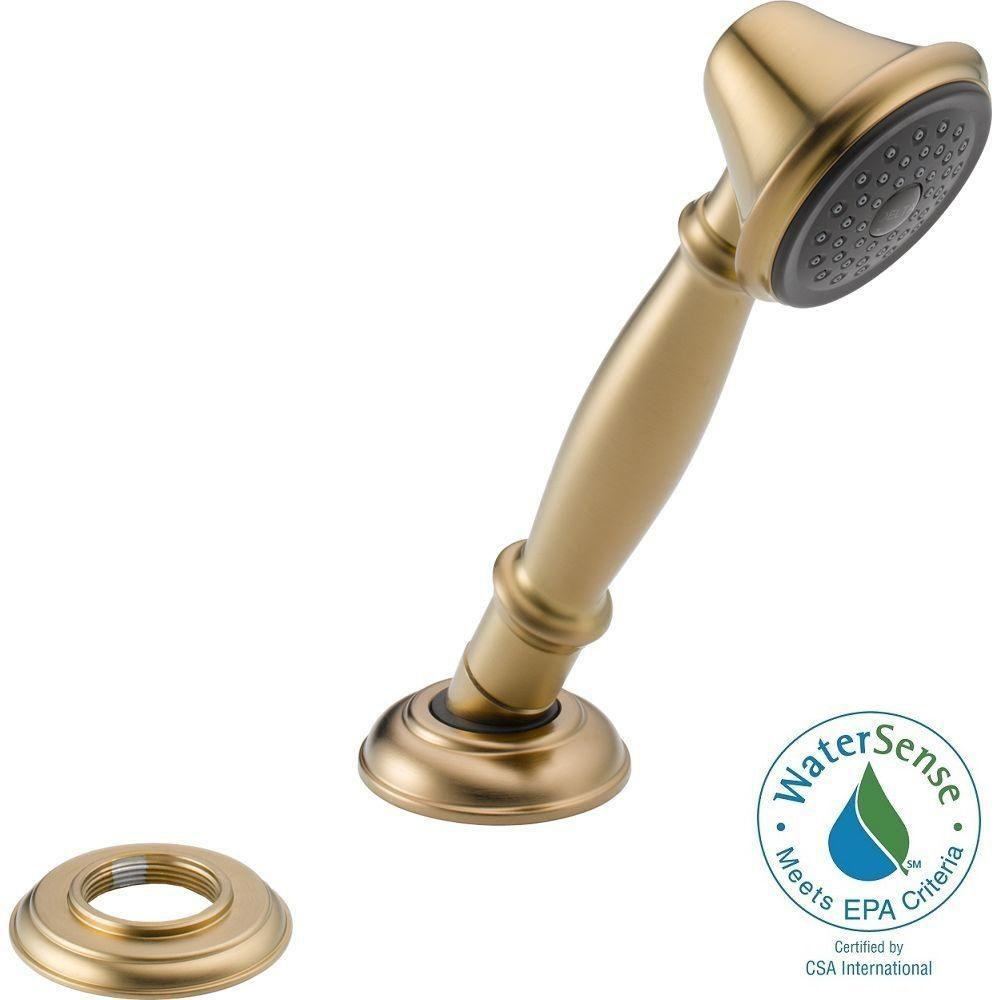 Delta Traditional Single-Handle Deck-Mount Roman Tub Faucet with Handheld Showerhead in Champagne Bronze