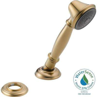 Traditional Single-Handle Deck-Mount Roman Tub Faucet with Handheld Showerhead in Champagne Bronze