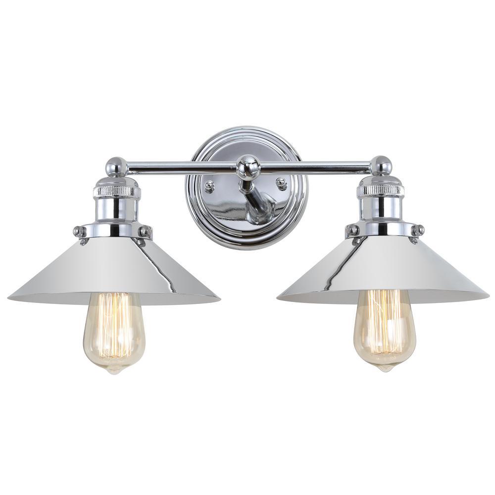 June 17.5 in. 2-Light Metal Chrome Vanity Light