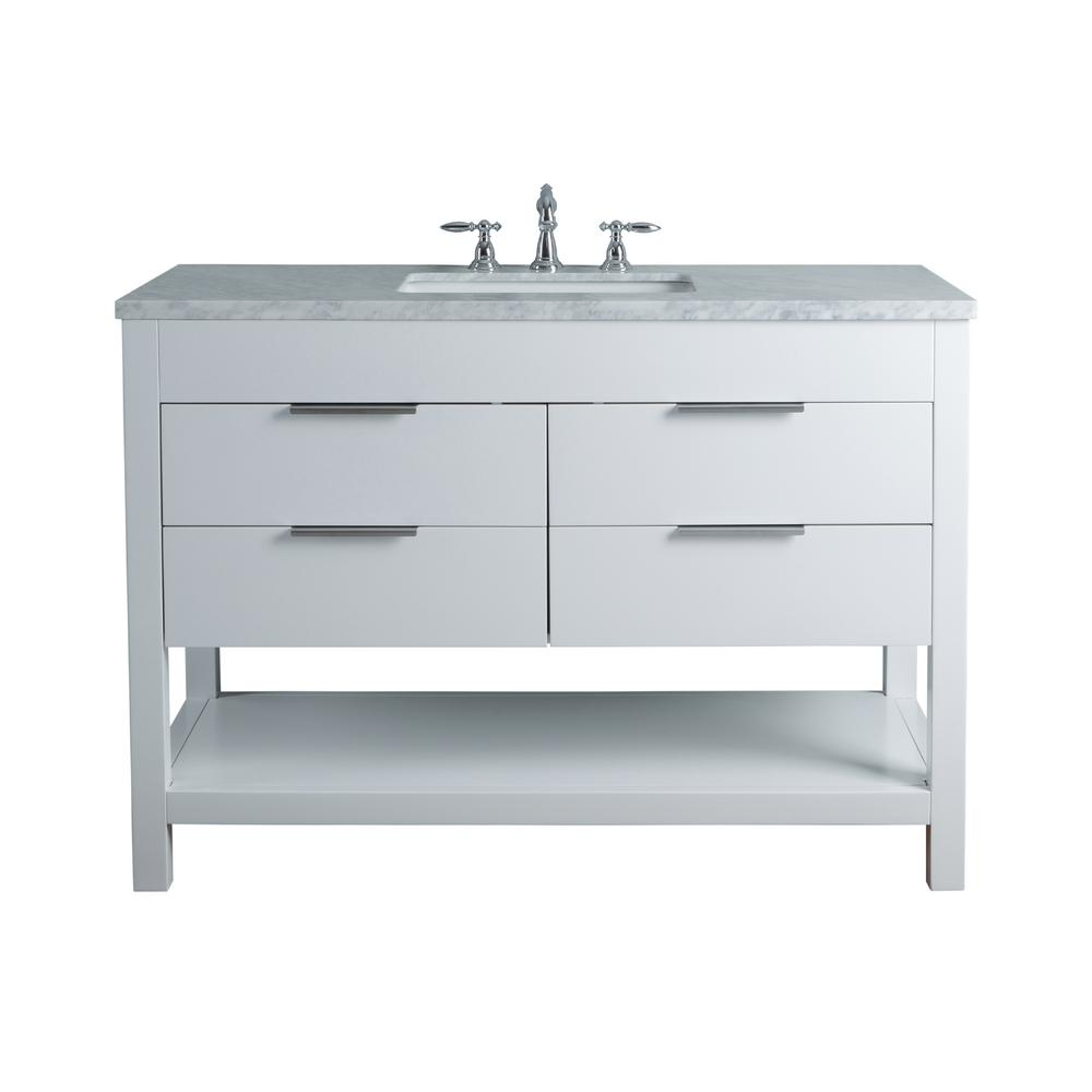 stufurhome Rochester 48 in. White Single Sink Bathroom Vanity with Marble Vanity Top and White Basin