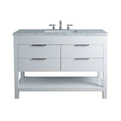 Rochester 48 in. White Single Sink Bathroom Vanity with Marble Vanity Top and White Basin