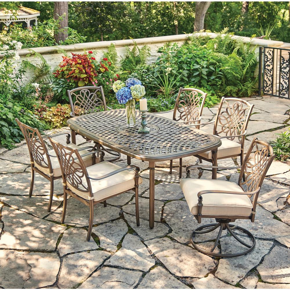 Hampton Bay Cavasso 7 Piece Metal Outdoor Dining Set With Oatmeal Cushions 171 410 7d The Home