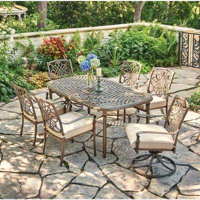 Cavasso 7 Piece Metal Outdoor Dining Set With Oatmeal Cushions