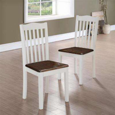 Marvelous Shiloh Dark Walnut / White Dining Chairs (Set Of 2)
