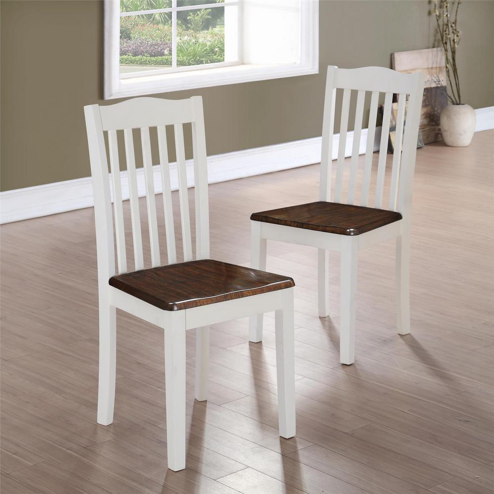 Dorel Living Shiloh Dark Walnut White Dining Chairs Set Of 2