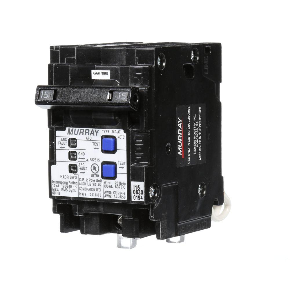 Murray 15 Amp Double Pole Type Mp At Combination Afci Circuit Apm 2 5 Wiring Diagram Breaker