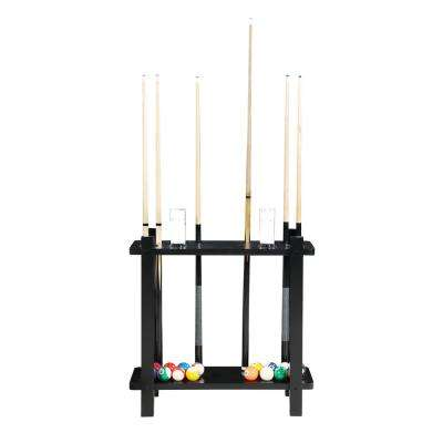 Classic Floor Billiard Pool Cue Rack in Black