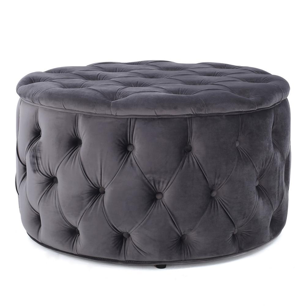Aaden Grey New Velvet Tufted Ottoman