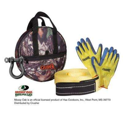 Emergency Recovery 30 ft. Tow Rope Strap, D-Ring, Gloves & High Quality Camo Storage Bag