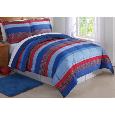 Sebastian Stripe Blue Queen Comforter Set
