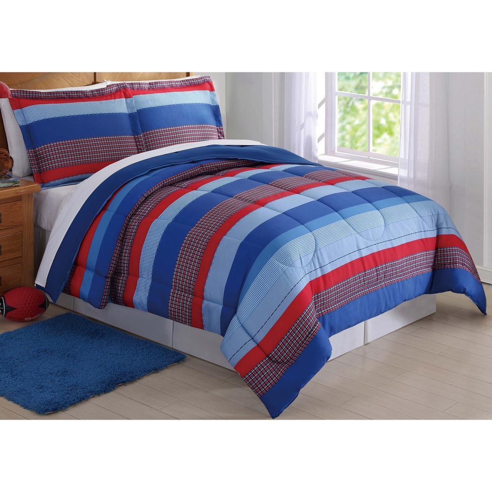 Sebastian Stripe Blue Twin Comforter Set