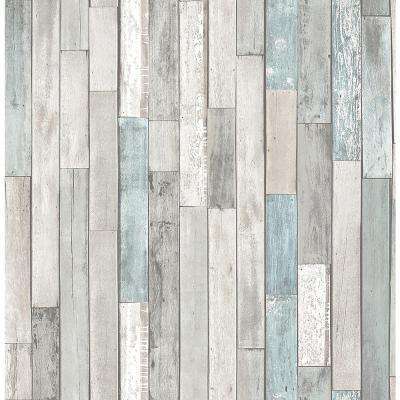 Barn Board Grey Thin Plank Wallpaper Sample