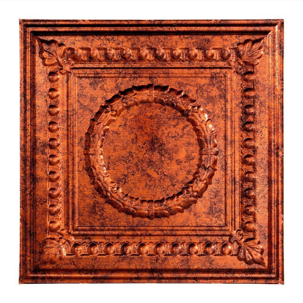 Fasade Rosette - 2 ft. x 2 ft. Lay-in Ceiling Tile in Moonstone Copper