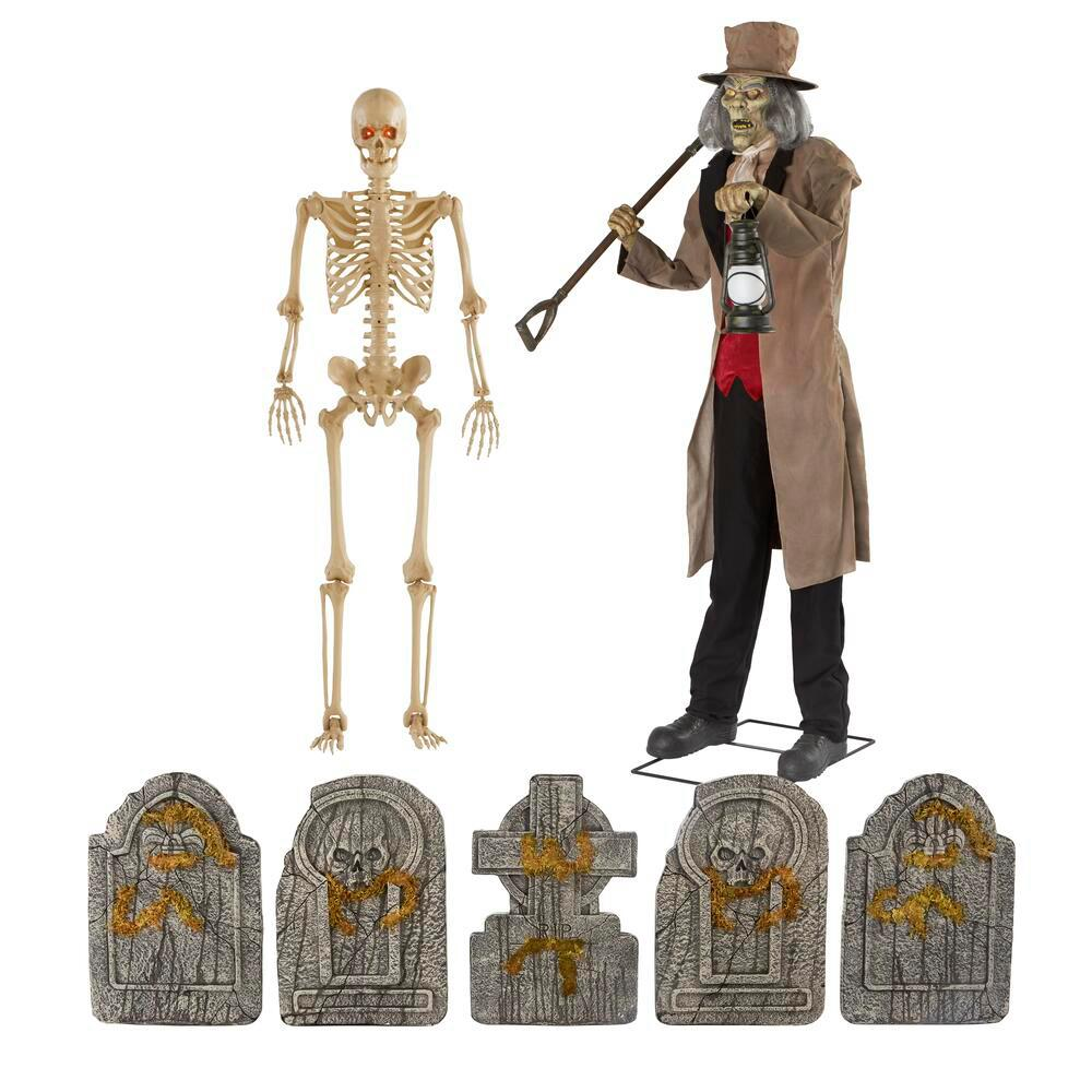 6.5 ft. Animated Gravedigger, 5 ft. Poseable Skeleton and 5-Piece Assorted Tombstone Pack
