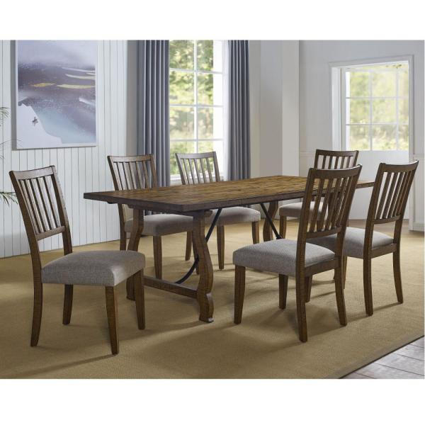 Steve Silver Yuma Distressed Honey And Beige Dining Table Yu500t The Home Depot