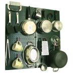 Kitchen Pegboard 32 in. x 32 in. Metal Peg Board Pantry Organizer Kitchen Pot Rack with Green Pegboard and Red Peg Hooks