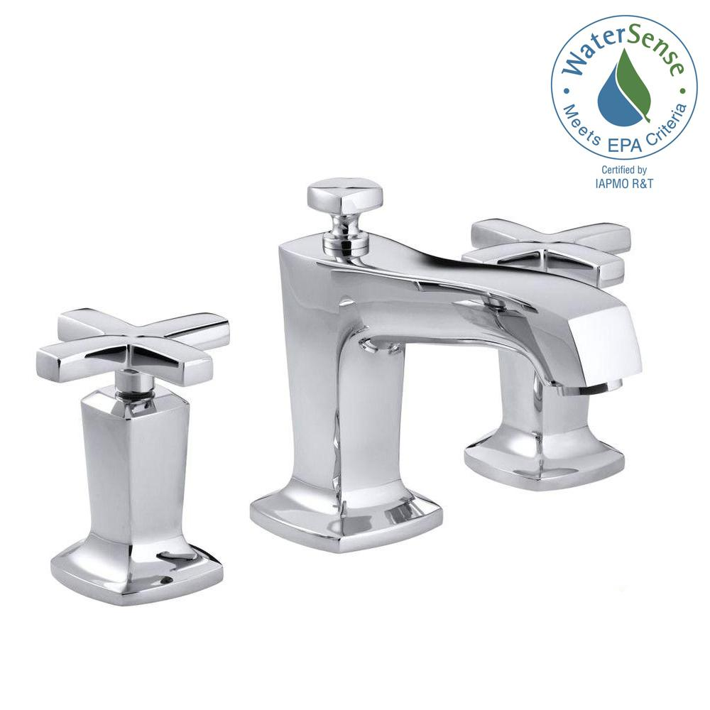 KOHLER Margaux 8 in. Widespread 2-Handle Low-Arc Water-Saving Bathroom Faucet in Polished Chrome with Cross Handles