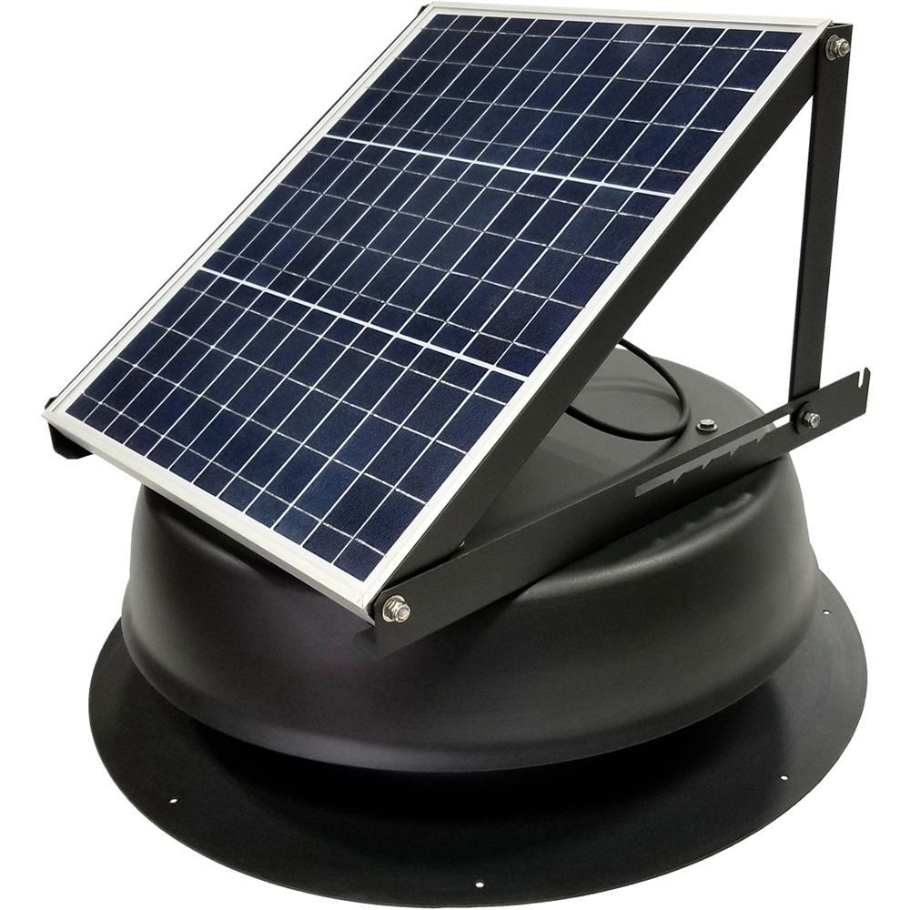 30-Watt 1550 CFM Ultra-Low Profile Black Solar Powered Attic Fan