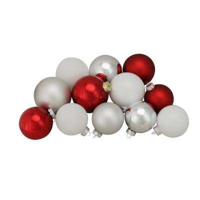 3.25 in. to 4 in. Red Silver and White Shiny and Matte Glass Ball Christmas Ornaments (72-Count)