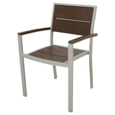 Surf City Textured Silver Patio Dining Arm Chair with Vintage Lantern Slats