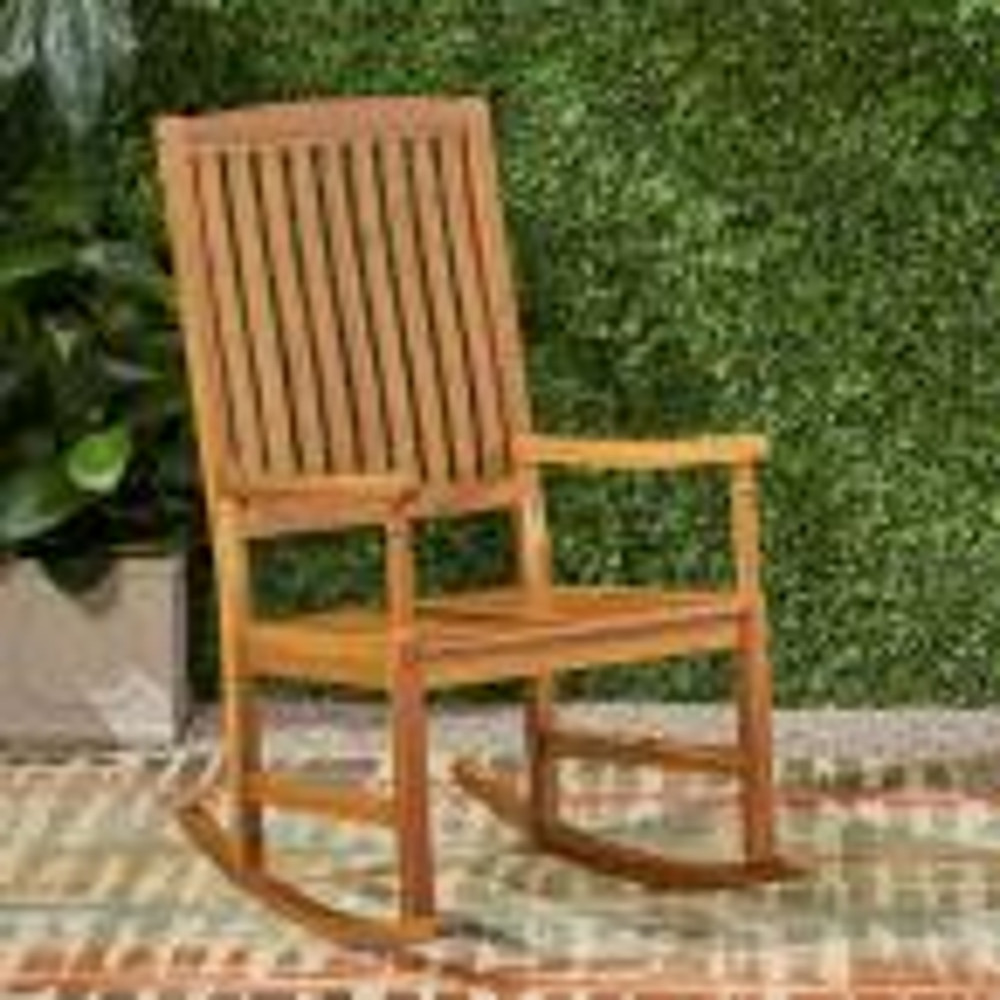 Arcadia Teak Brown Wood Outdoor Rocking Chair