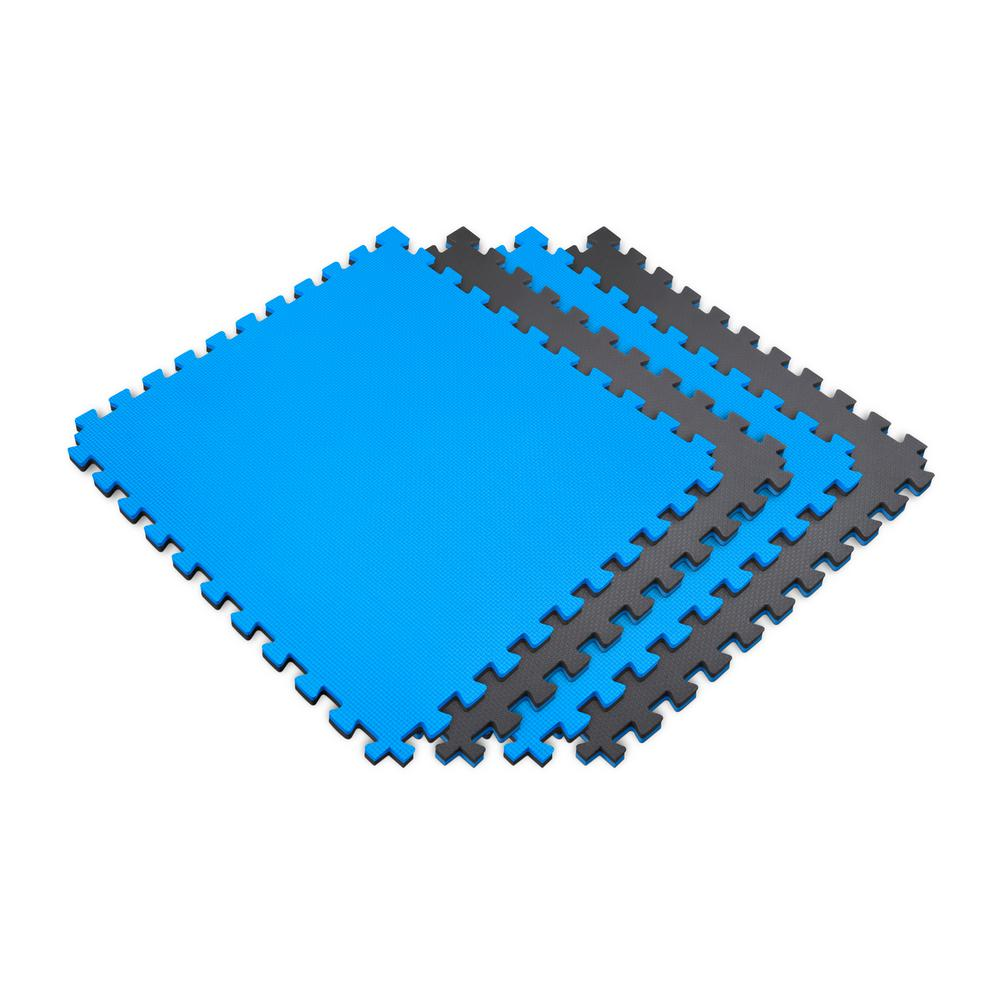 Norsk Blue/Black 24 in. x 24 in. EVA Foam Sport Multi-Purpose Reversible Interlocking Tile (36-Tile)