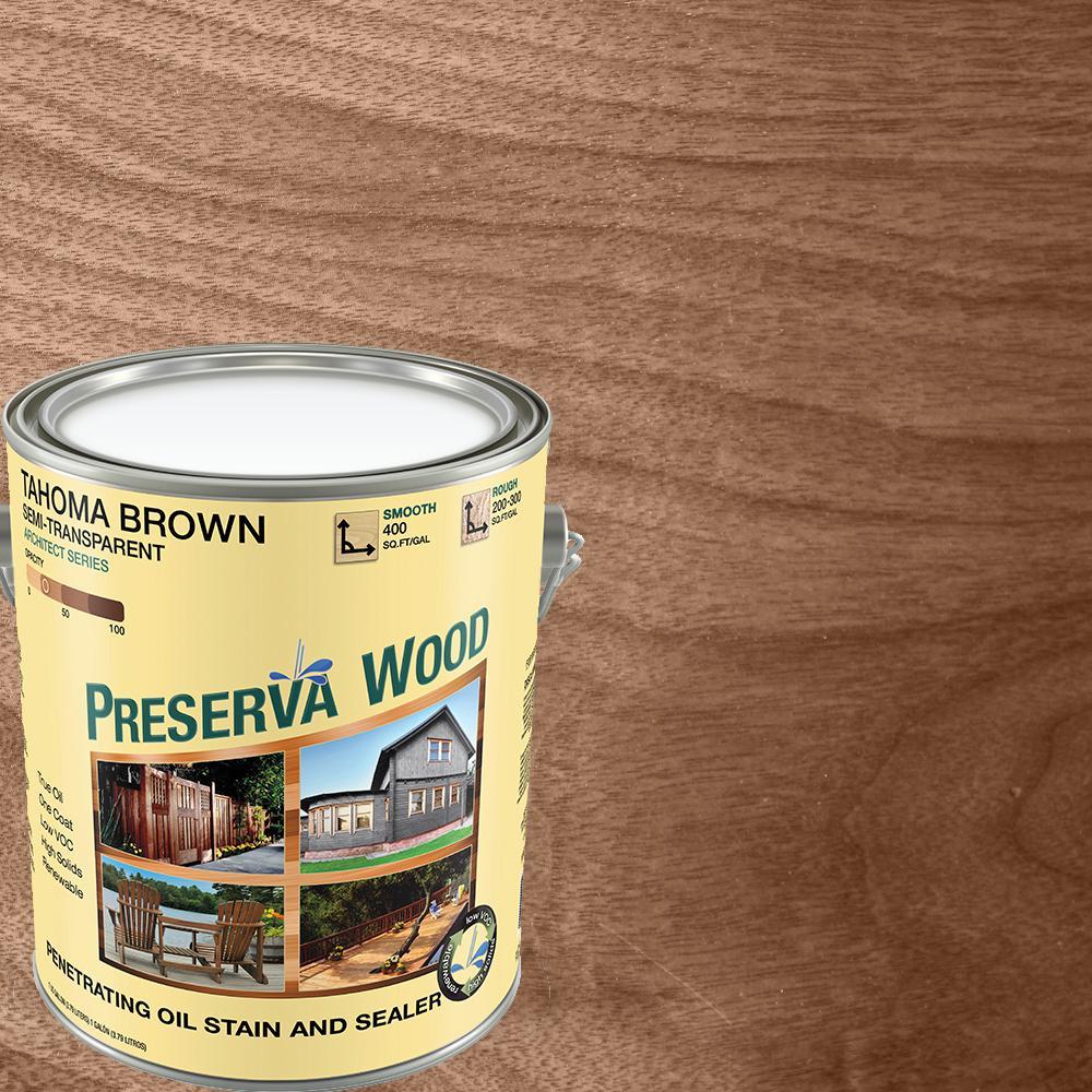 Preserva Wood 1 Gal. Semi-Transparent Oil-Based Tahoma Brown Exterior Wood Stain
